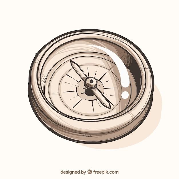 Hand getrokken kaart kompas Gratis Vector