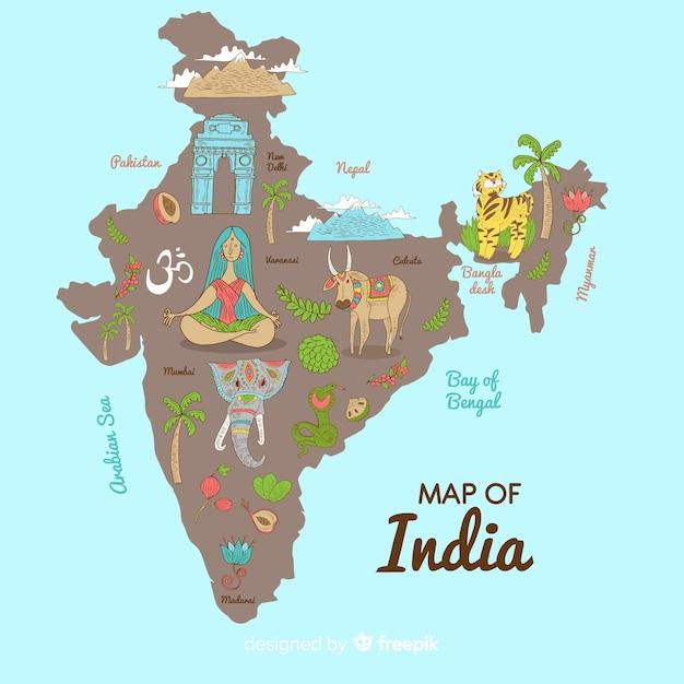 Hand getrokken kaart van india Gratis Vector