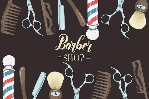 Hand getrokken kapper met gekleurd scheermes, schaar, scheerkwast, kam, klassieke kapper pool. s Premium Vector
