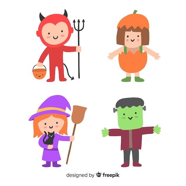 Hand getrokken karakter halloween kind kostuums Gratis Vector