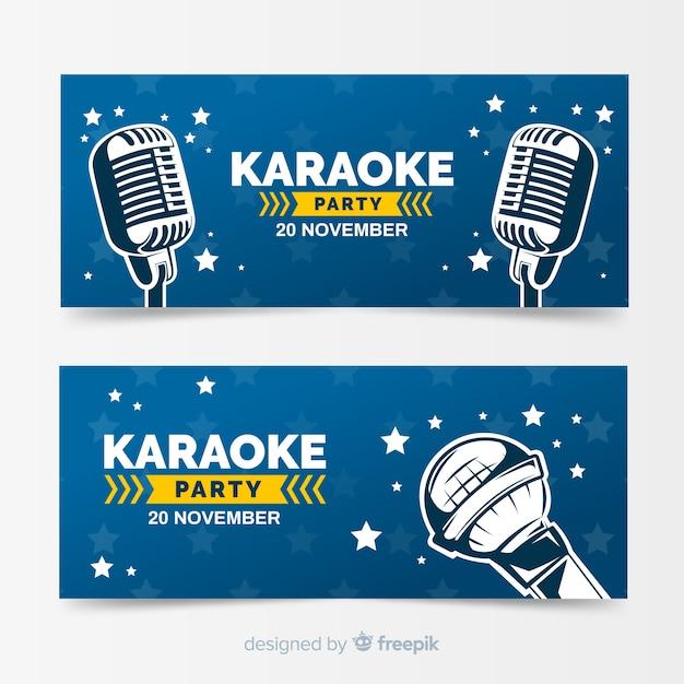 Hand getrokken karaoke partij spandoeksjabloon Gratis Vector
