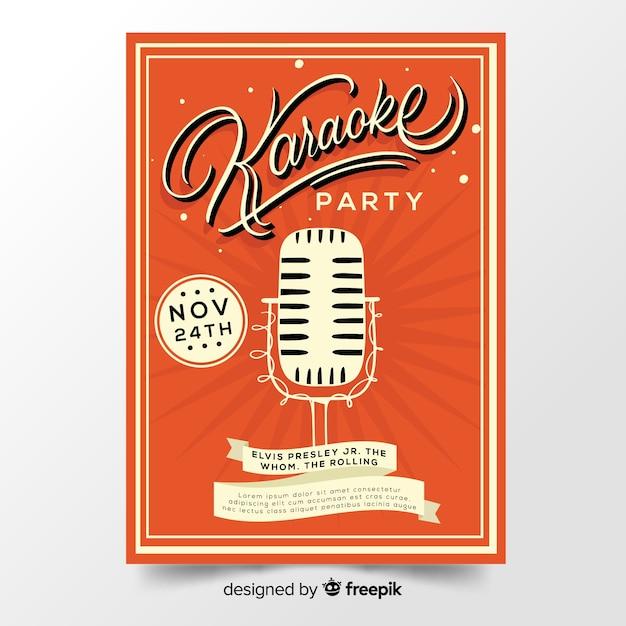 Hand getrokken karaoke poster sjabloon Gratis Vector