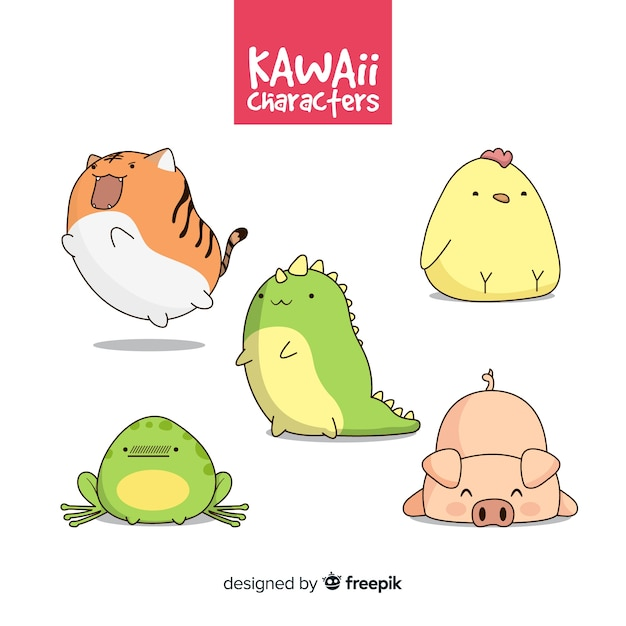 Hand getrokken kawaii dier-collectie Gratis Vector