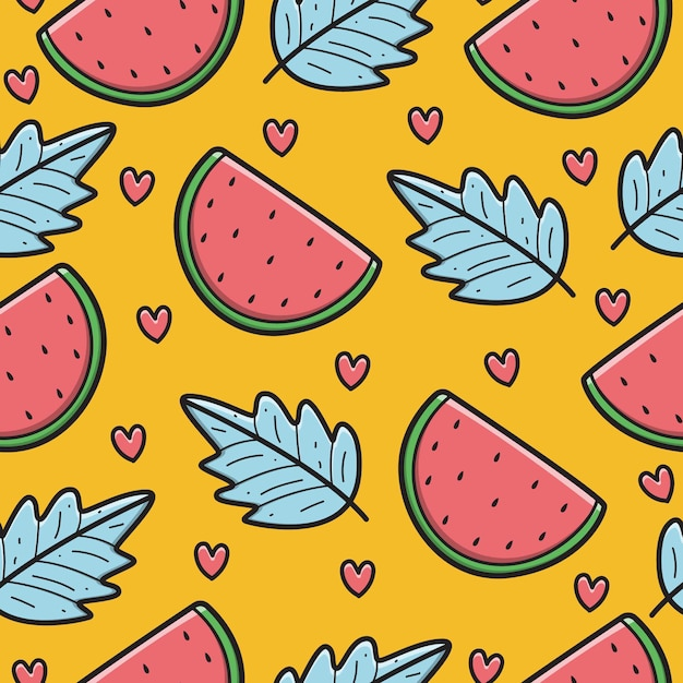 Hand getrokken kawaii doodle cartoon watermeloen patroon Premium Vector