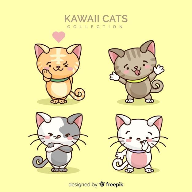 Hand getrokken kawaii kat collectie Gratis Vector