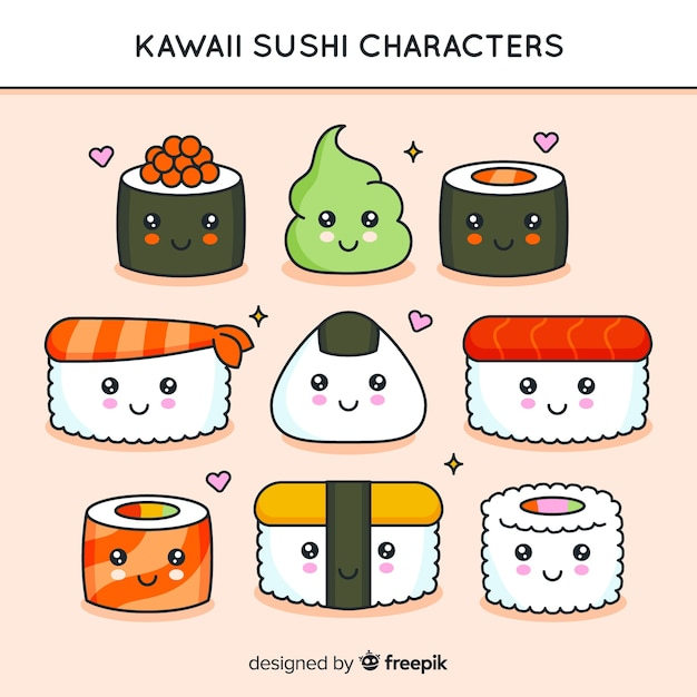 Hand getrokken kawaii sushi pack Gratis Vector