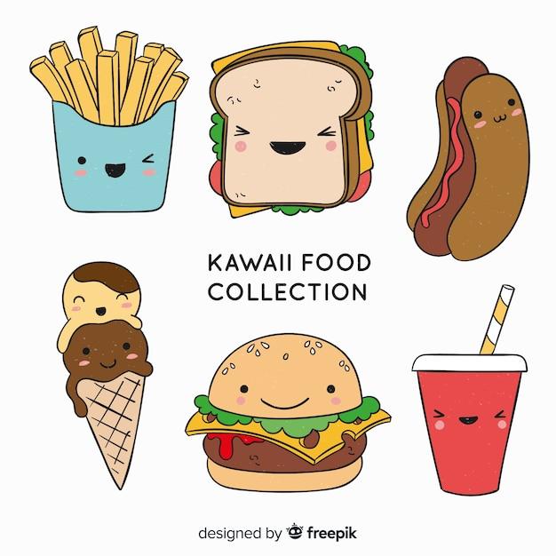 Hand getrokken kawaii voedselverzameling Gratis Vector
