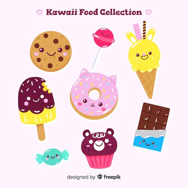Hand getrokken kawaii zoet voedsel collectie Gratis Vector