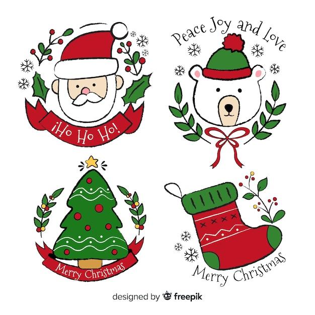 Hand getrokken kerst badge collectie Gratis Vector
