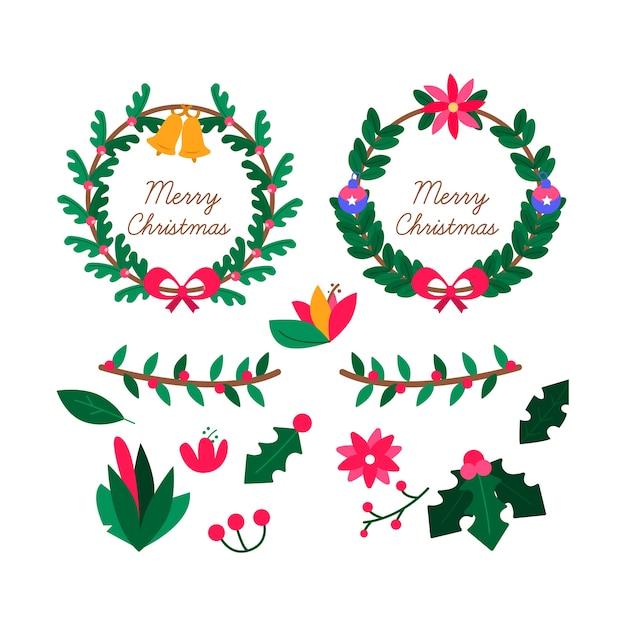 Hand getrokken kerst bloem & krans collectie Gratis Vector