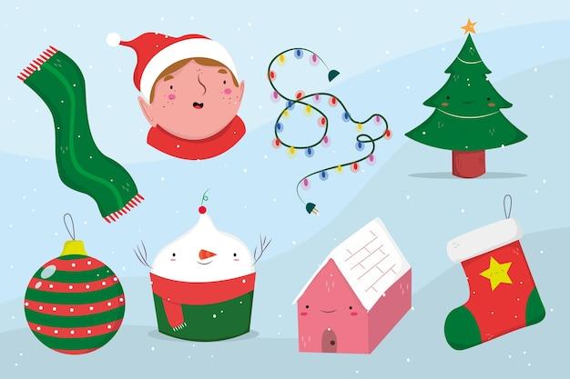 Hand getrokken kerst element collectie Gratis Vector