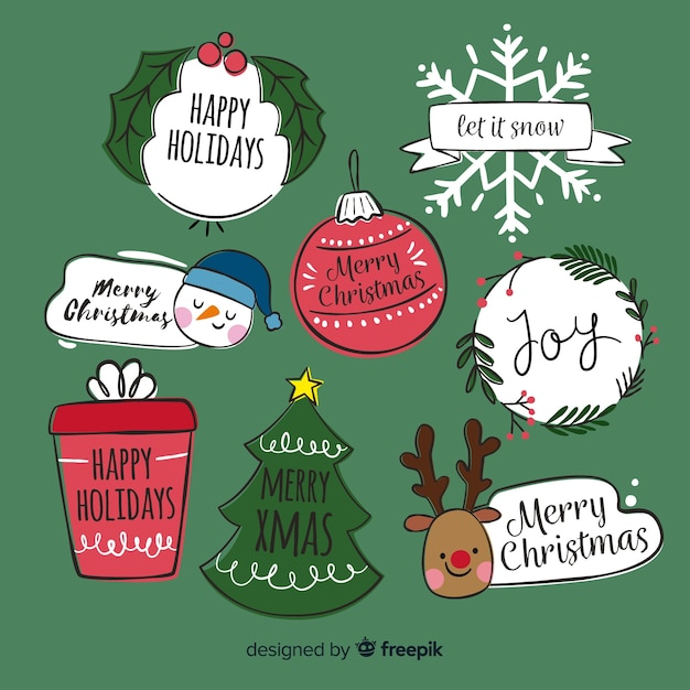 Hand getrokken kerst elementen collectie Gratis Vector