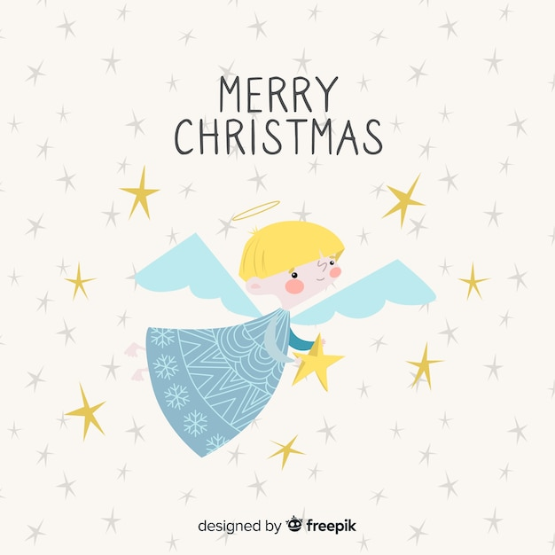 Hand getrokken kerst engel achtergrond Gratis Vector