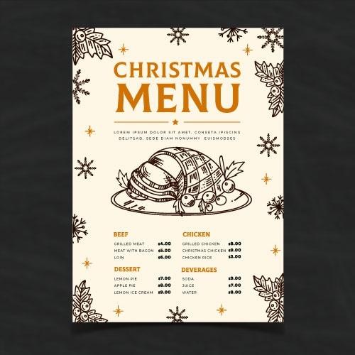 Hand getrokken kerst menusjabloon Gratis Vector