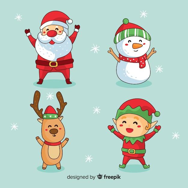 Hand getrokken kerst schattig karakter collectie Gratis Vector