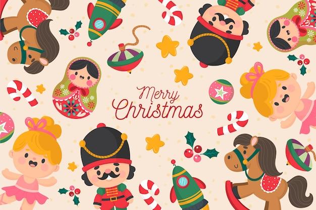 Hand getrokken kerst speelgoed achtergrond Gratis Vector