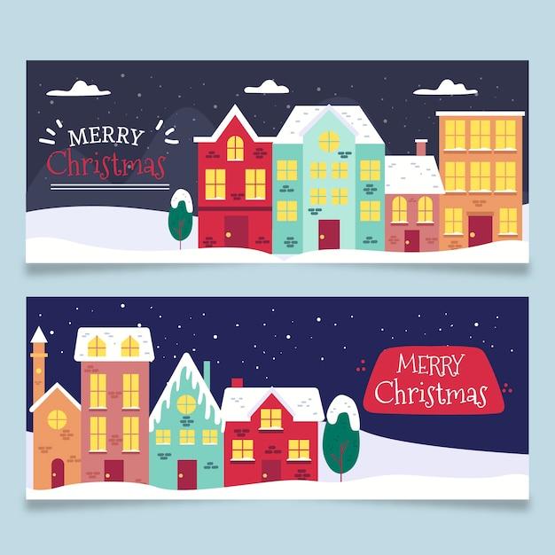 Hand getrokken kerst stad banners sjabloon Gratis Vector