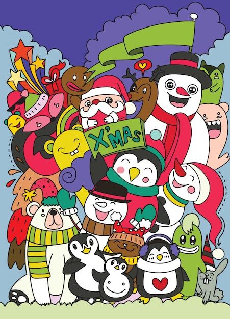 Hand getrokken kerst tekenset doodle Premium Vector