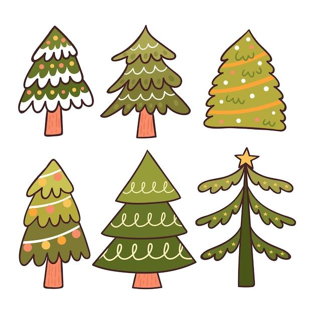 Hand getrokken kerstboom set Gratis Vector