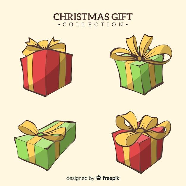 Hand getrokken kerstcadeau box-collectie Gratis Vector