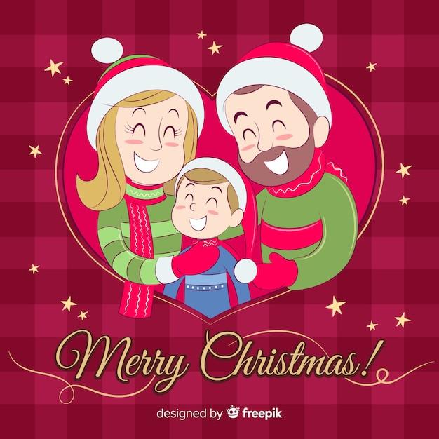 Hand getrokken kerstmis familie scène Gratis Vector