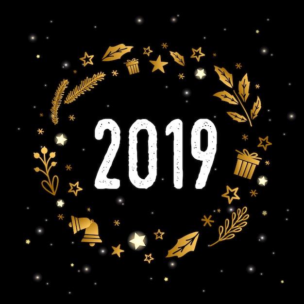 Hand Getrokken Kerstmis Gouden Kroon Met 2019 Op Zwarte Achtergrond