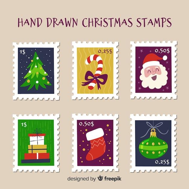 Hand getrokken kerstmis postzegels Gratis Vector