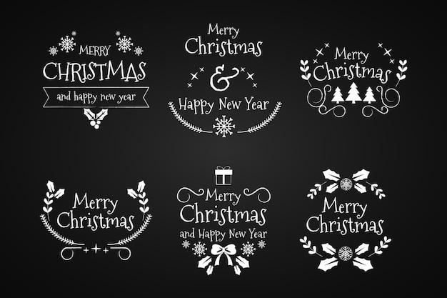 Hand getrokken kerstmiskaders en grenzen op zwarte achtergrond Gratis Vector