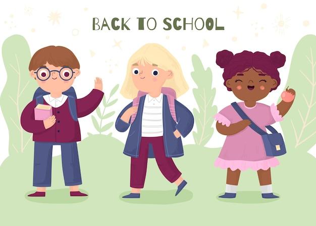 Hand getrokken kinderen die naar school gaan Gratis Vector