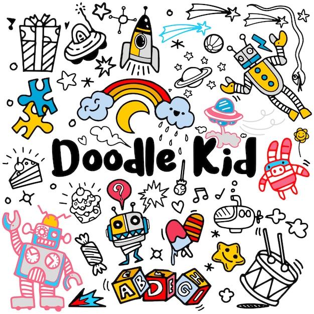 Hand getrokken kinderen doodle set, doodle stijl, vectorillustratie Premium Vector