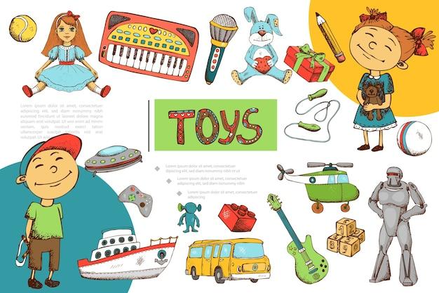 Hand getrokken kinderen speelgoed samenstelling Gratis Vector