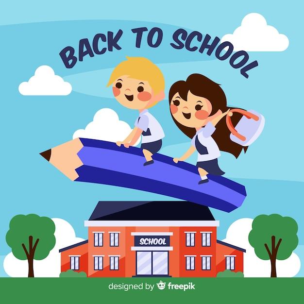 Hand getrokken kinderen terug naar school achtergrond Gratis Vector