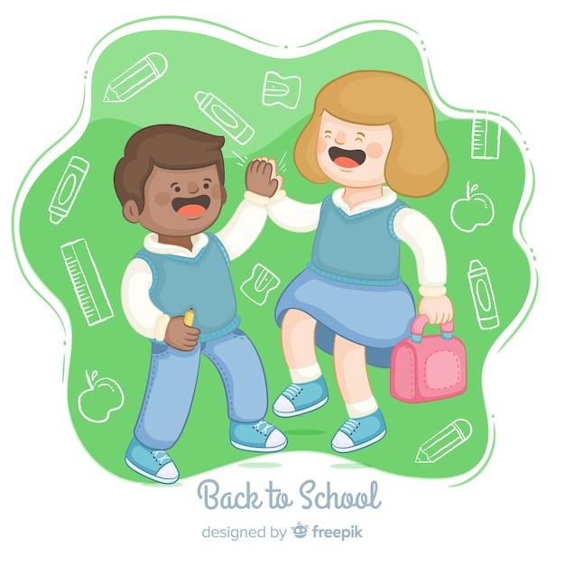 Hand getrokken kinderen terug naar schoolcollectie Gratis Vector