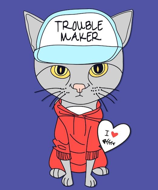Hand getrokken kitty vector ontwerp voor t-shirt afdrukken Premium Vector