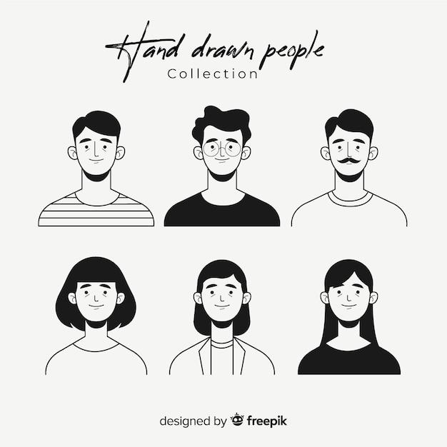 Hand getrokken kleurloze mensen avatar collectie Premium Vector