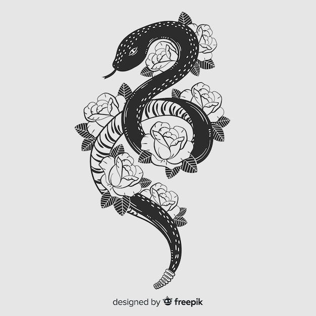 Hand getrokken kleurloze slang met bloemen achtergrond Gratis Vector
