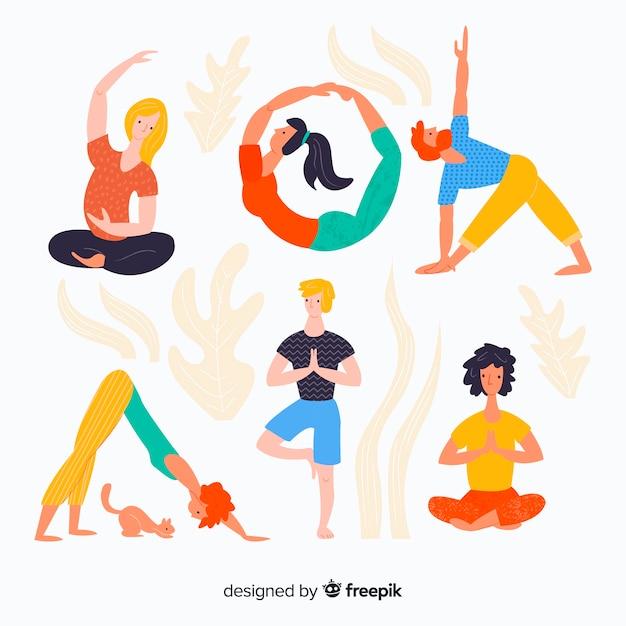 Hand getrokken kleurrijke mensen die yoga doen Gratis Vector