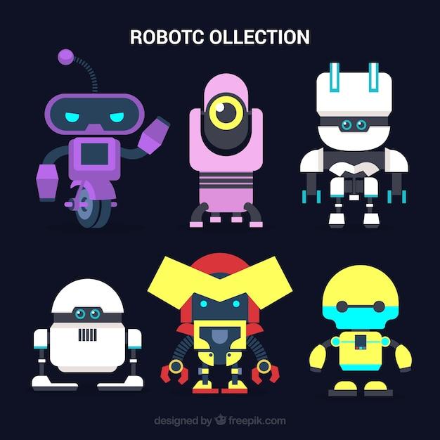 Hand getrokken kleurrijke robots-collectie Gratis Vector