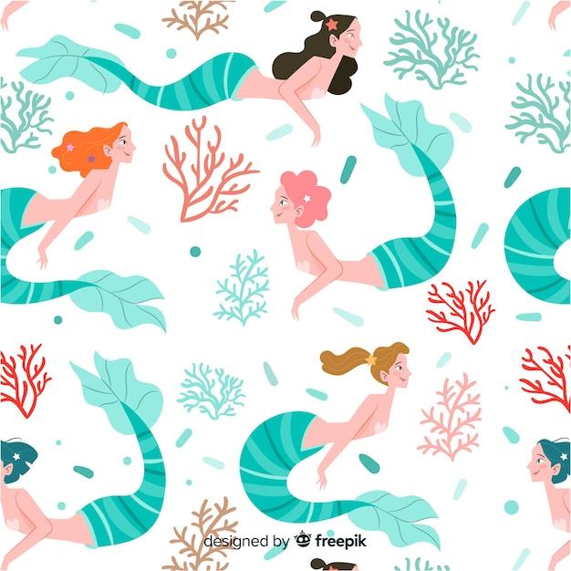 Hand getrokken kleurrijke zeemeermin patroon Gratis Vector