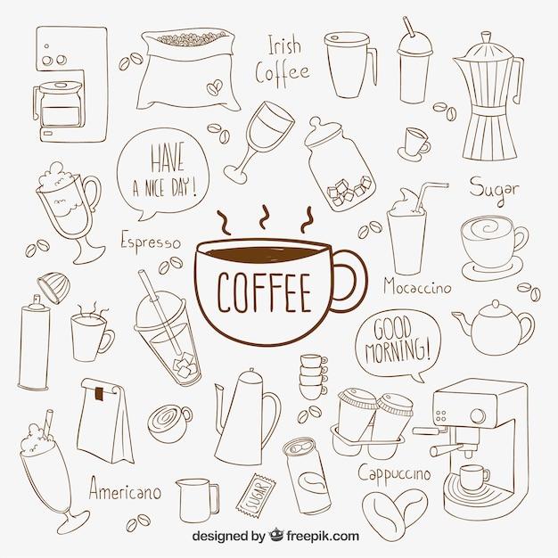 Hand getrokken koffie elementen Gratis Vector