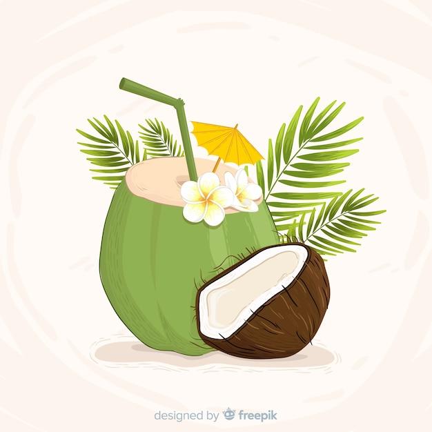 Hand getrokken kokosnoot cocktail achtergrond Gratis Vector