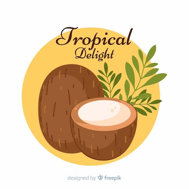 Hand getrokken kokosnoot met bladeren achtergrond Gratis Vector