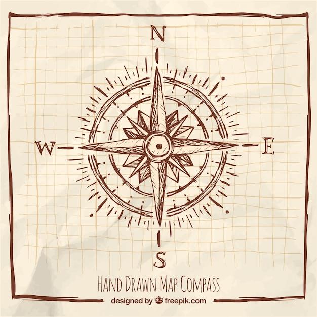 Hand getrokken kompas met frame Gratis Vector