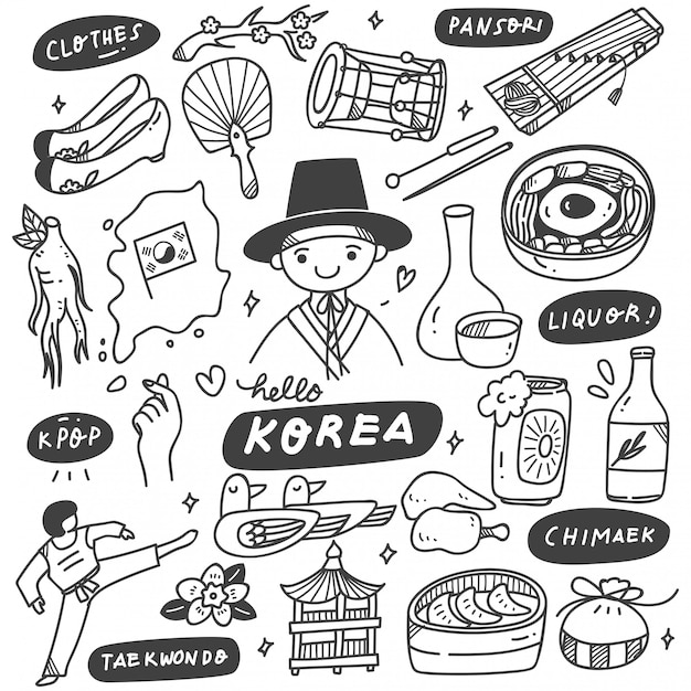 Hand getrokken korea doodle set Premium Vector