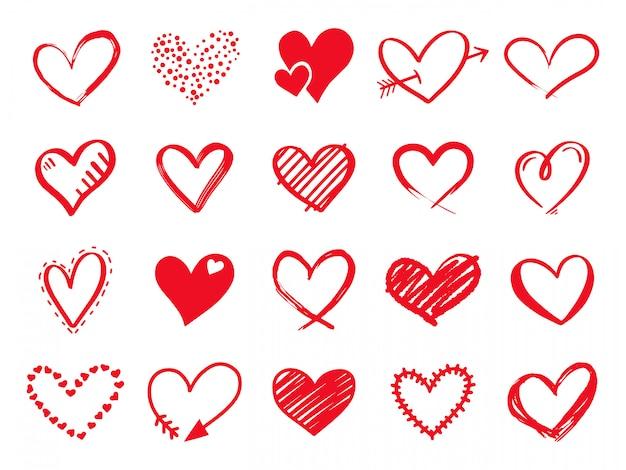 Hand getrokken krabbelharten. geschilderde hartvormige elementen voor valentijnsdag wenskaart. doodle rode liefde harten pictogrammen instellen. collectie op romantische symbolen op witte achtergrond Premium Vector