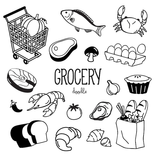 Hand getrokken kruidenier doodles set Premium Vector