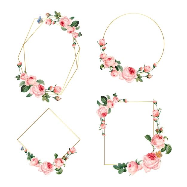 Hand getrokken lege roze rozen frames Gratis Vector