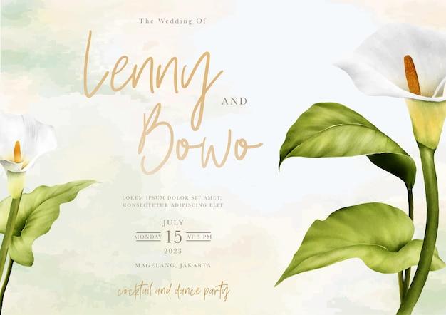 Hand getrokken lelie bloemen bruiloft uitnodigingskaart Gratis Vector