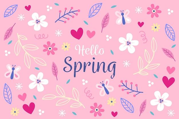 Hand getrokken lente bloemen behang Gratis Vector