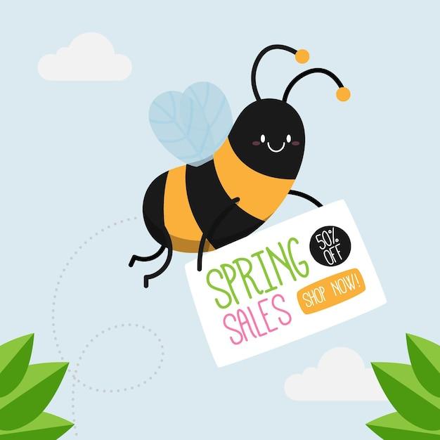 Hand getrokken lente verkoop promo met bij Gratis Vector